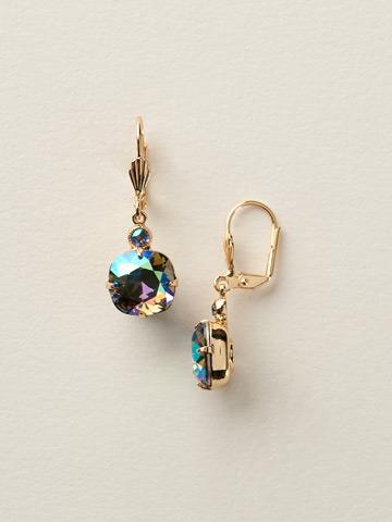 Medium Cushion-Cut French Wire Earring in Bright Gold-tone Black Diamond Aurora Borealis