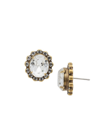 Crystal Encrusted Oval Post Earring in Antique Gold-tone Crystal
