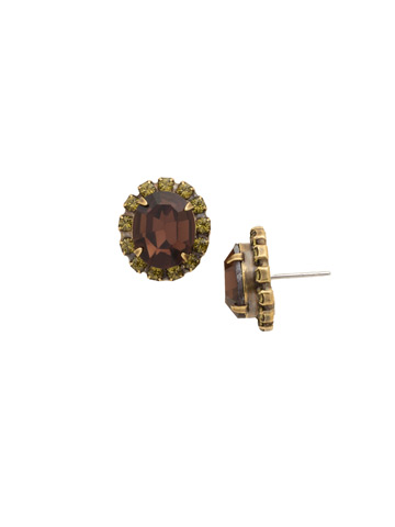 Crystal Encrusted Oval Post Earring in Antique Gold-tone Green Tapestry
