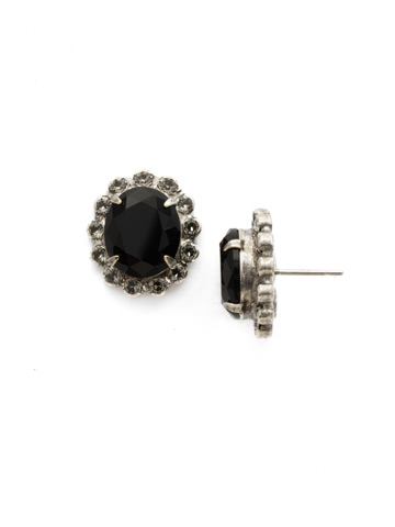 Crystal Encrusted Oval Post Earring in Antique Silver-tone Black Onyx