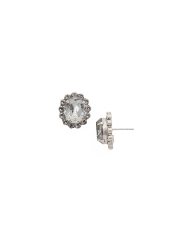 Crystal Encrusted Oval Post Earring in Antique Silver-tone Crystal Rock