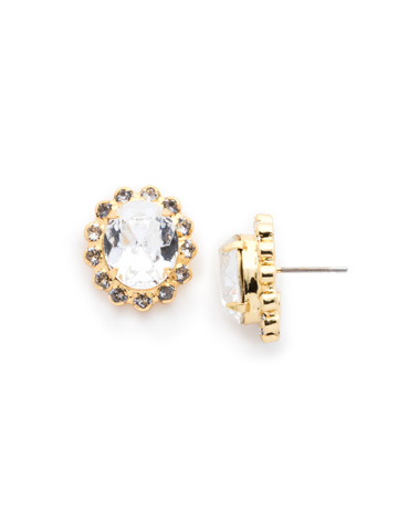 Crystal Encrusted Oval Post Earring in Bright Gold-tone Crystal