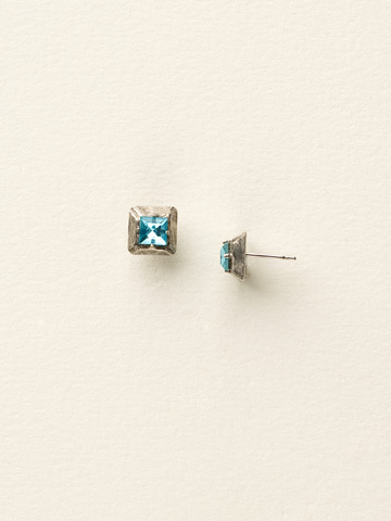 Petite Hammered Square Post Earring in Antique Silver-tone Sea Glass