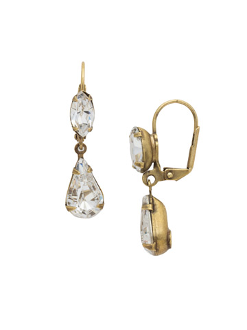 Teardrop Navette French Wire Earrings in Antique Gold-tone Crystal