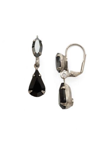 Teardrop Navette French Wire Earrings in Antique Silver-tone Black Onyx
