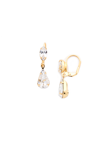 Teardrop Navette French Wire Earrings in Bright Gold-tone Crystal