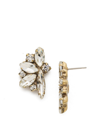 Fanned Navette Crystal Post Earring in Antique Gold-tone Crystal