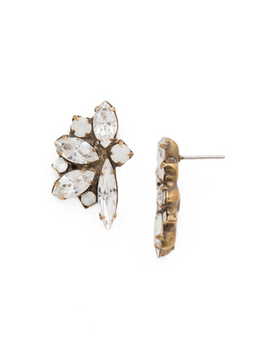 Fanned Navette Crystal Post Earring in Antique Gold-tone Pearl Luster