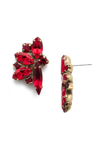 Fanned Navette Crystal Post Earring in Antique Gold-tone Sansa Red