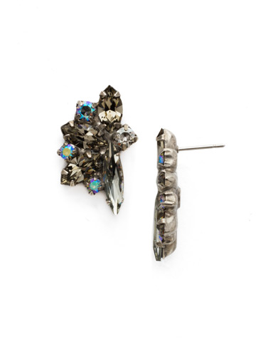 Fanned Navette Crystal Post Earring in Antique Silver-tone Crystal Rock
