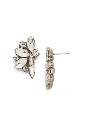 Fanned Navette Crystal Post Earring in Antique Silver-tone Crystal