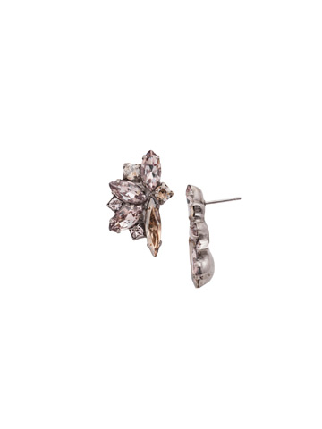 Fanned Navette Crystal Post Earring in Antique Silver-tone Satin Blush