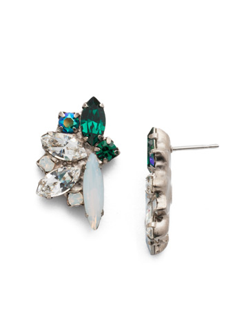 Fanned Navette Crystal Post Earring in Antique Silver-tone Snowy Moss