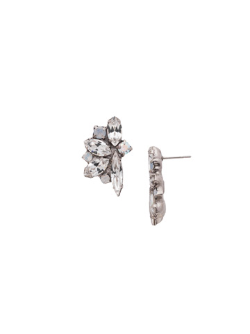 Fanned Navette Crystal Post Earring in Antique Silver-tone White Bridal