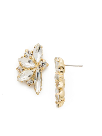 Fanned Navette Crystal Post Earring in Bright Gold-tone Crystal