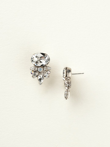Oval and Crystal Cluster Post Earring in Antique Silver-tone White Bridal