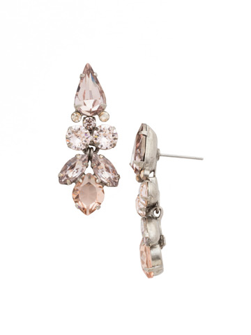 Floral Multi-Cut Crystal Statement Earring in Antique Silver-tone Satin Blush
