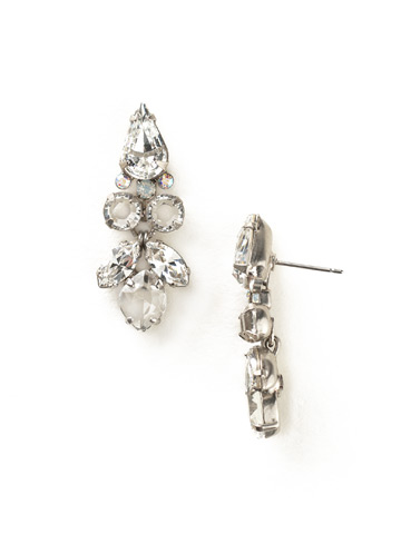 Floral Multi-Cut Crystal Statement Earring in Antique Silver-tone White Bridal