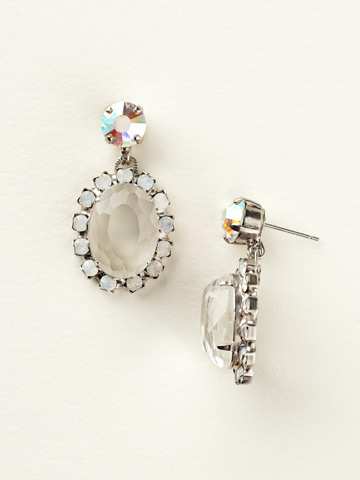 Unfoiled Crystal Encrusted Post Earring in Antique Silver-tone White Bridal