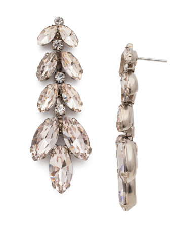 Repeating Navette Crystal Drop Earring in Antique Silver-tone Soft Petal