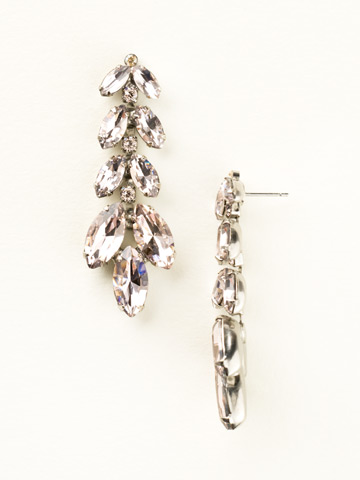 Repeating Navette Crystal Drop Earring in Antique Silver-tone Satin Blush