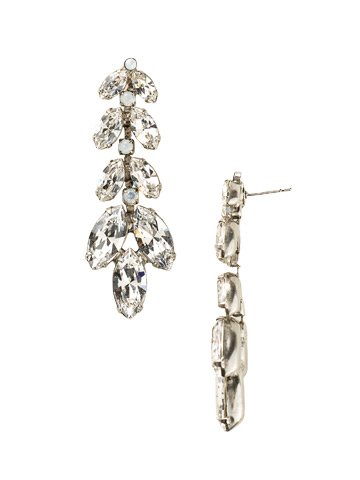 Repeating Navette Crystal Drop Earring in Antique Silver-tone White Bridal
