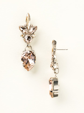 Crystal Cluster and Pear Drop Earring in Antique Silver-tone Satin Blush