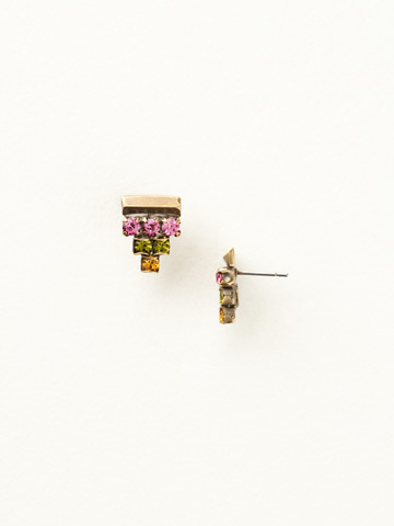 Stacked Crystal and Metal Accent Post Earrings in Antique Gold-tone Juicy Fruit