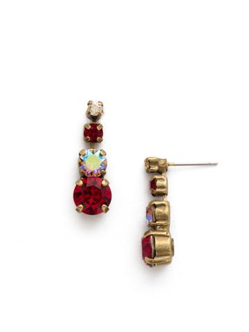 Descending Round Crystal Post Earring in Antique Gold-tone Go Garnet