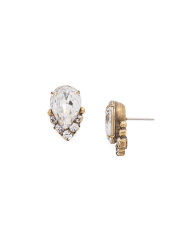 Crystal Teardrop and Cluster Post Earring in Antique Gold-tone Crystal