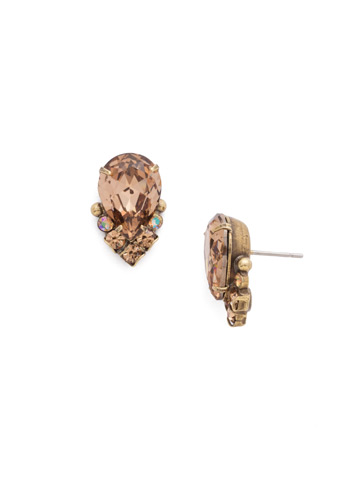 Crystal Teardrop and Cluster Post Earring in Antique Gold-tone Neutral Territory