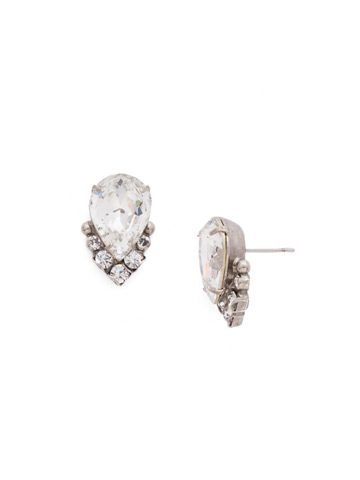 Crystal Teardrop and Cluster Post Earring in Antique Silver-tone Crystal