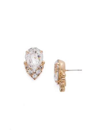 Crystal Teardrop and Cluster Post Earring in Bright Gold-tone Crystal