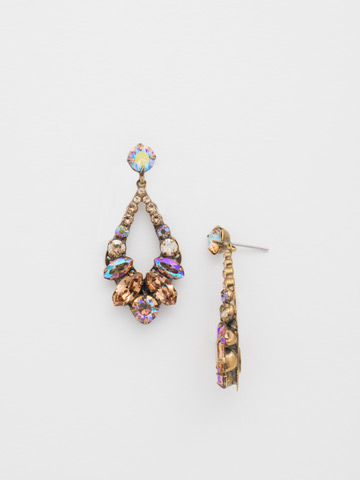 Navette and Round Crystal Adornment Post Earring in Antique Gold-tone Neutral Territory