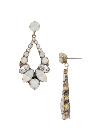 Navette and Round Crystal Adornment Post Earring in Antique Gold-tone Pearl Luster