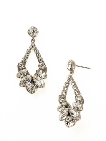 Navette and Round Crystal Adornment Post Earring in Antique Silver-tone Crystal