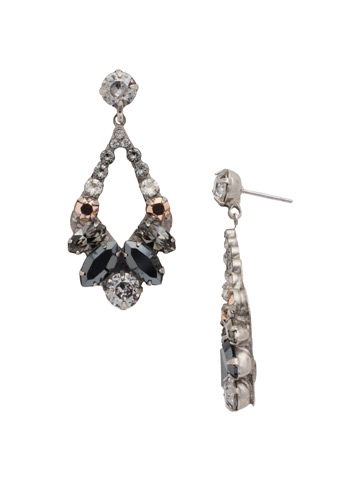 Navette and Round Crystal Adornment Post Earring in Antique Silver-tone Gold Vermeil