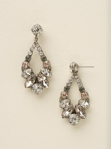 Navette and Round Crystal Adornment Post Earring in Antique Silver-tone Snow Bunny
