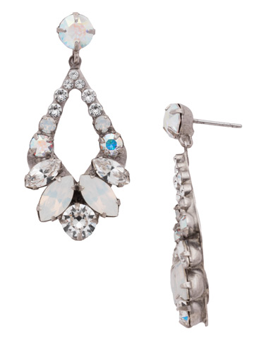 Navette and Round Crystal Adornment Post Earring in Antique Silver-tone White Bridal