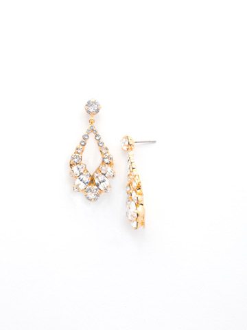 Navette and Round Crystal Adornment Post Earring in Bright Gold-tone Crystal