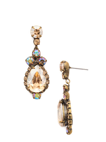 Central Teardrop and Round Crystal Post Earring in Antique Gold-tone Neutral Territory
