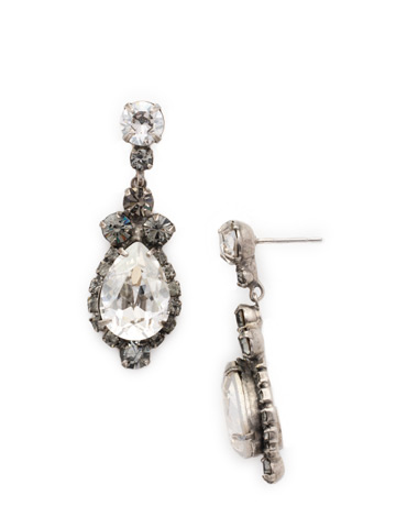 Central Teardrop and Round Crystal Post Earring in Antique Silver-tone Crystal Rock