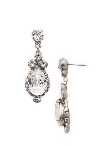 Central Teardrop and Round Crystal Post Earring in Antique Silver-tone Crystal