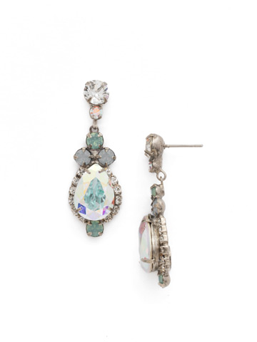 Central Teardrop and Round Crystal Post Earring in Antique Silver-tone Rainbow Quartz