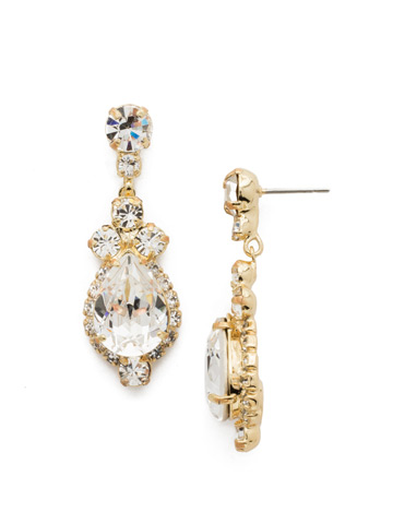 Central Teardrop and Round Crystal Post Earring in Bright Gold-tone Crystal