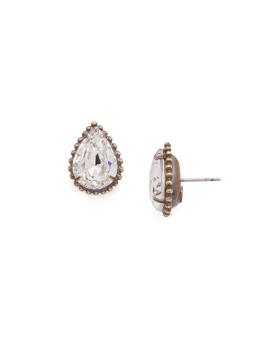 Pear Cut Solitaire Earring in Antique Gold-tone Crystal