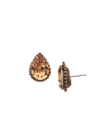 Pear Cut Solitaire Earring in Antique Gold-tone Neutral Territory