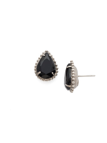 Pear Cut Solitaire Earring in Antique Silver-tone Crystal Noir