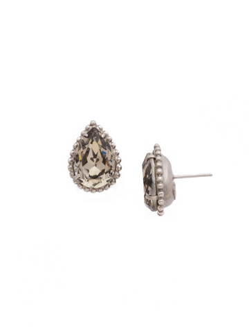 Pear Cut Solitaire Earring in Antique Silver-tone Crystal Rock