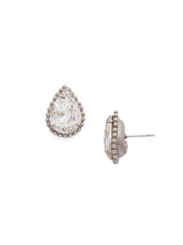 Pear Cut Solitaire Earring in Antique Silver-tone Crystal